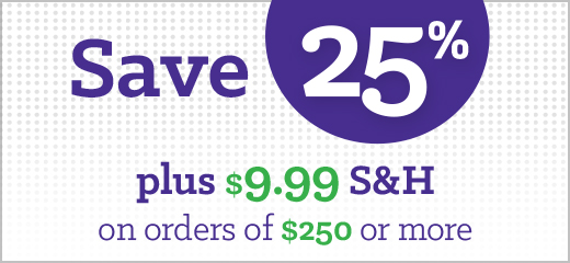 Save 25% plus $9.99 S&H